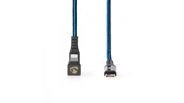 Nedis GCTB39650AL20 Data- En Oplaadkabel Usb-c-™ Male Naar Apple Lightning 8-pins Male Gaming Connector 180° 2,0 M Rond Gevlochten Zwart-blauw